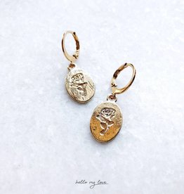Gold Romantic Rose Earrings