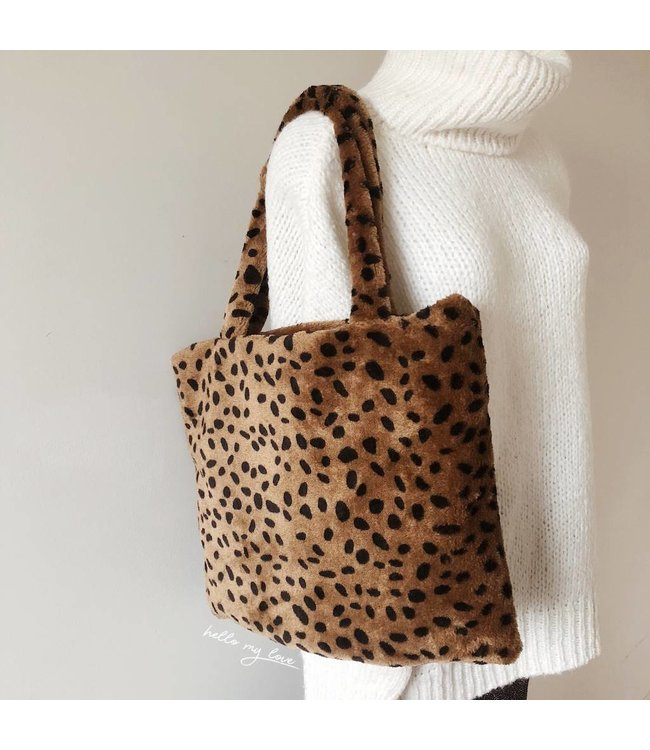 Brown Furry Cheetah Bag