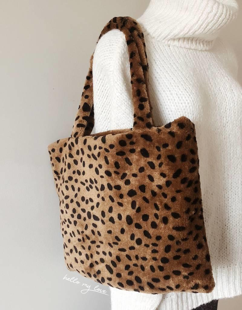 Brown Furry Leopard Bag
