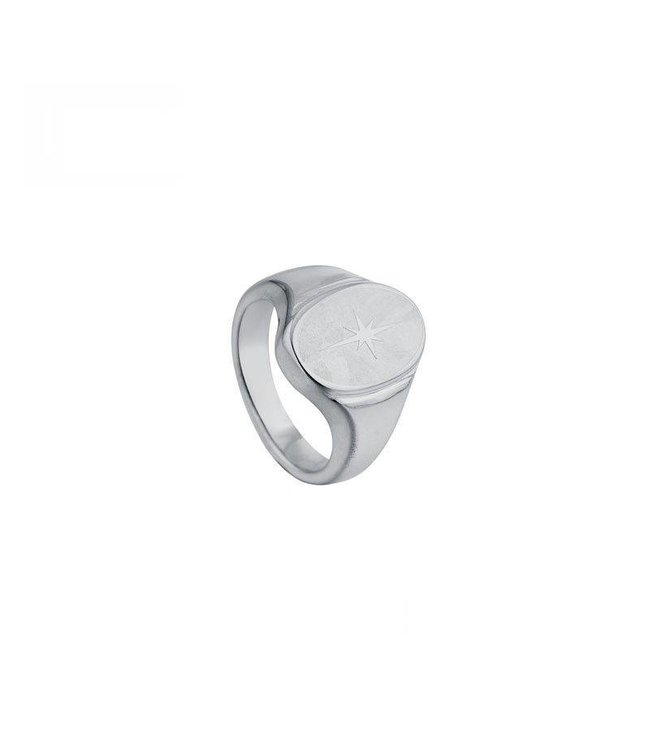Silver North Star Signet Ring