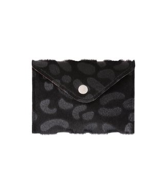 Black Furry Leopard Pouch