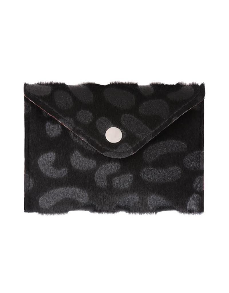 Black Furry Leopard Pouch