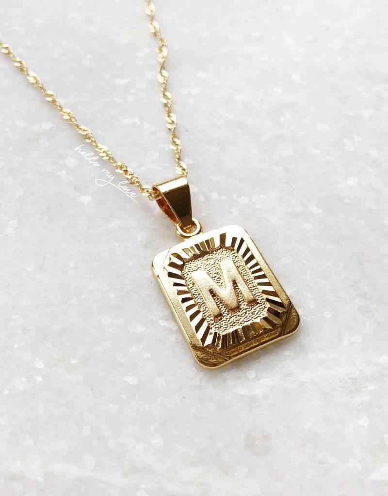 Gold Initial Tag Necklace
