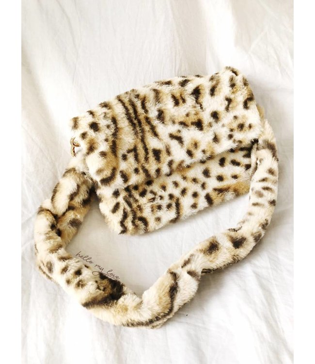 Naira Small Furry Leopard Bag