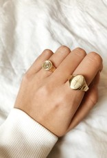 Gold North Star Signet Ring