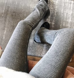 Grey Corduroy Flared Trousers