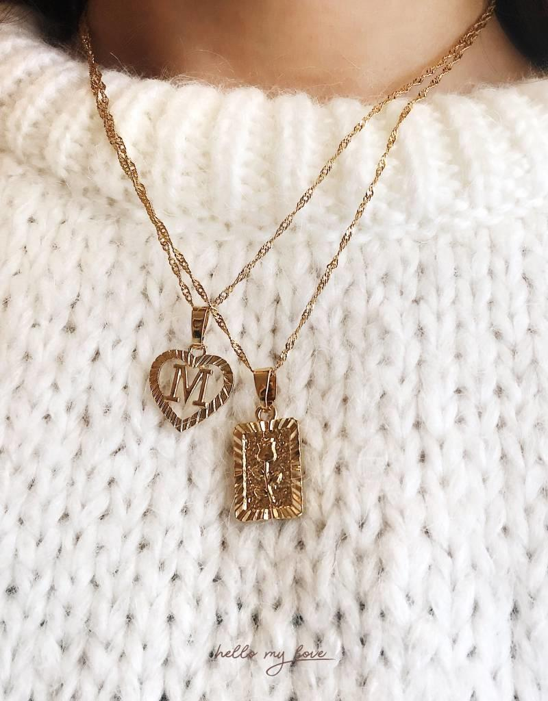 Gold Initial Heart Necklace