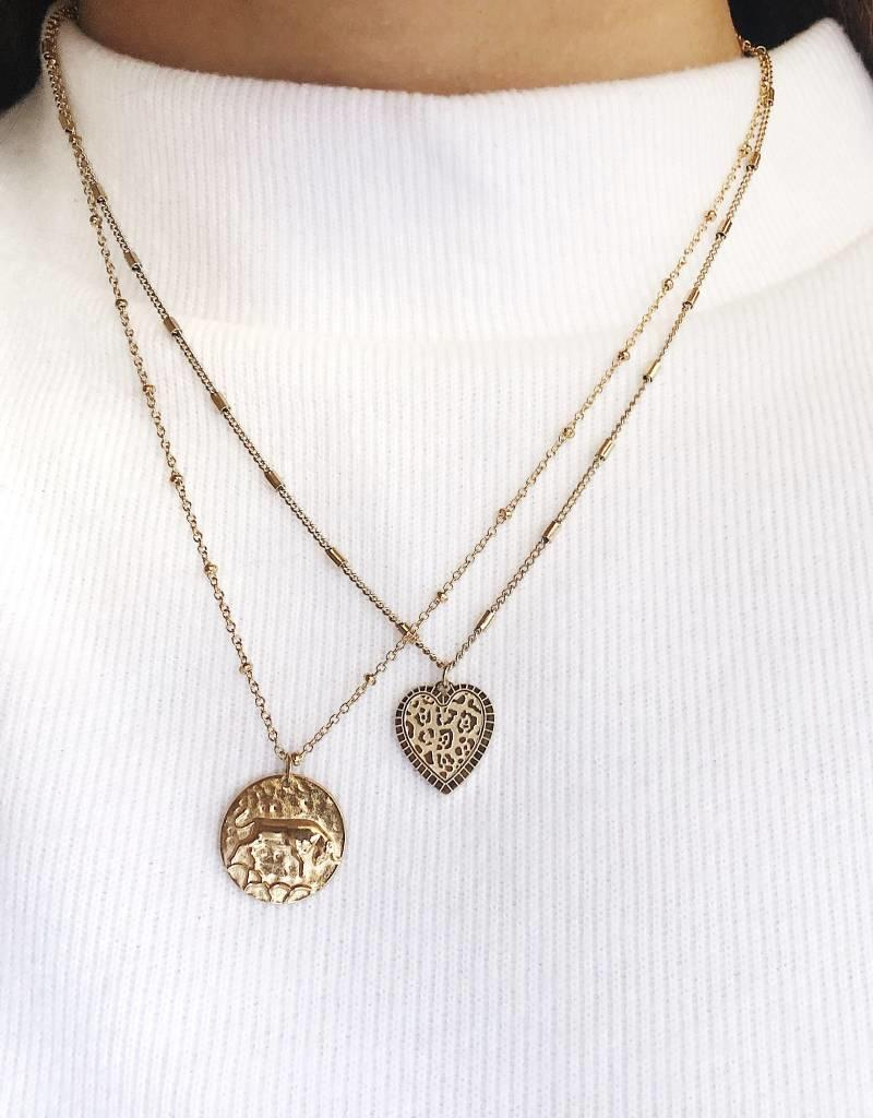 Gold Leo Heart Necklace