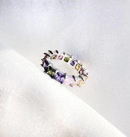 Silver Sparkle Rainbow Ring