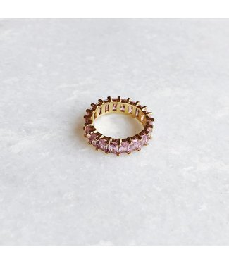 Gold Pink Rhinestone Ring