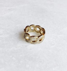 Gold Rhinestone Chain Ring