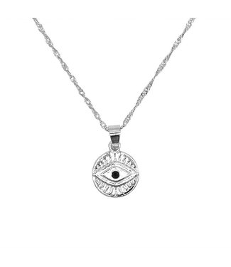 Silver Coin Eye Necklace