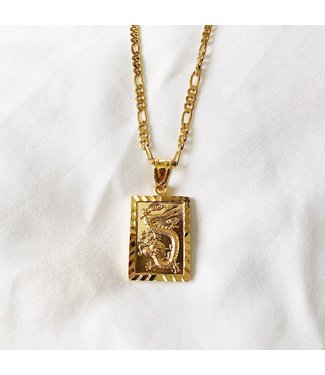 Gold Dragon Tag Necklace