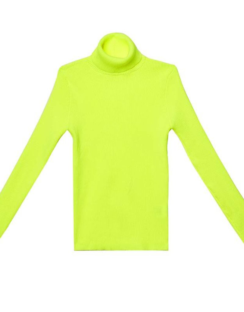 Neon Yellow Turtleneck Top