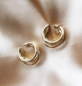 Gold Triple Hoops Earrings