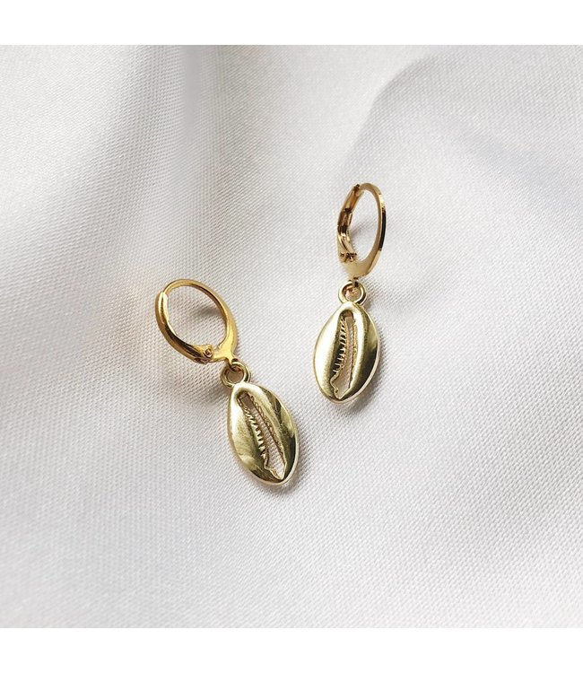 Gold Puka Shell Earrings
