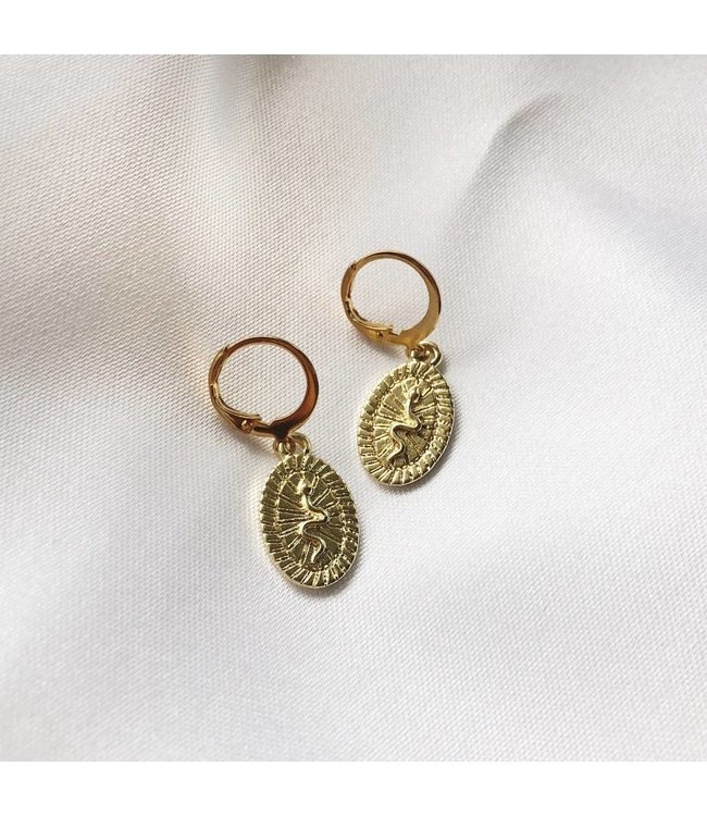 Gold Embossed Snake Earrings