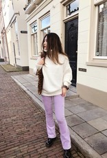 Lilac Corduroy Flared Trousers