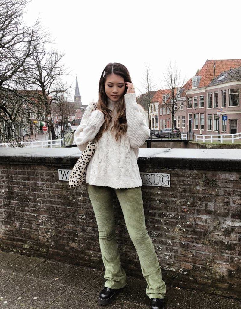 Green Corduroy Flared Trousers