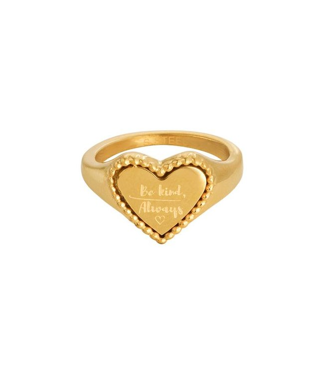 Gold The Kind Heart Signet Ring