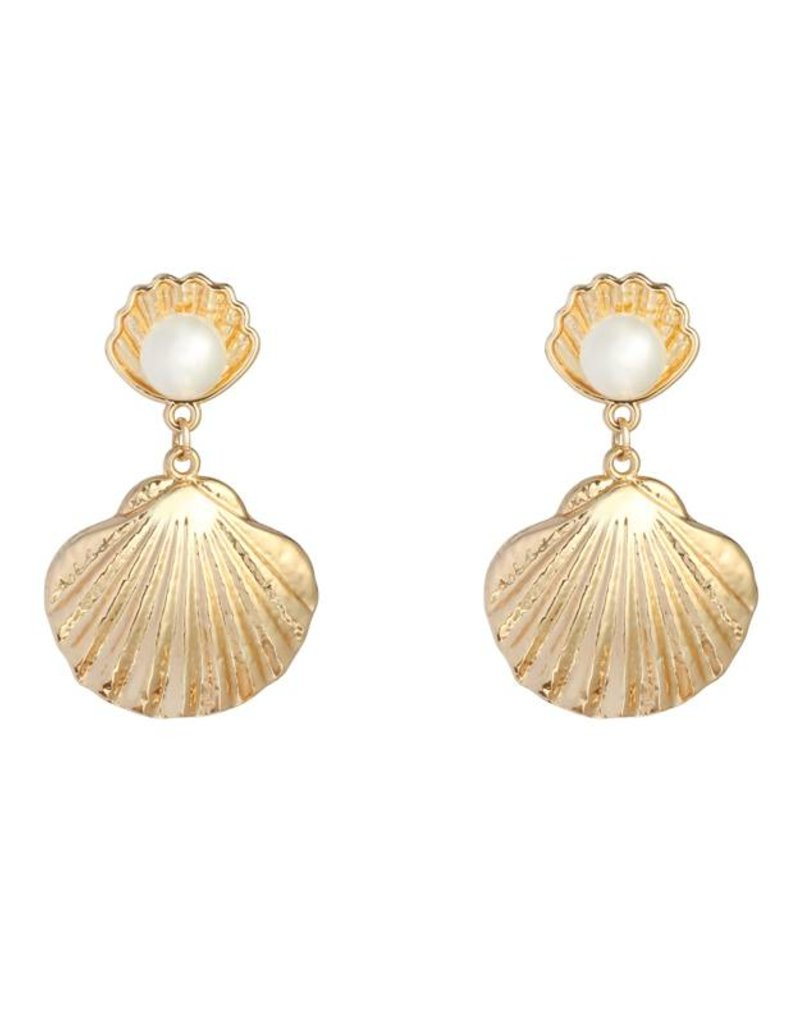 Gold Shells & Pearls Earrings