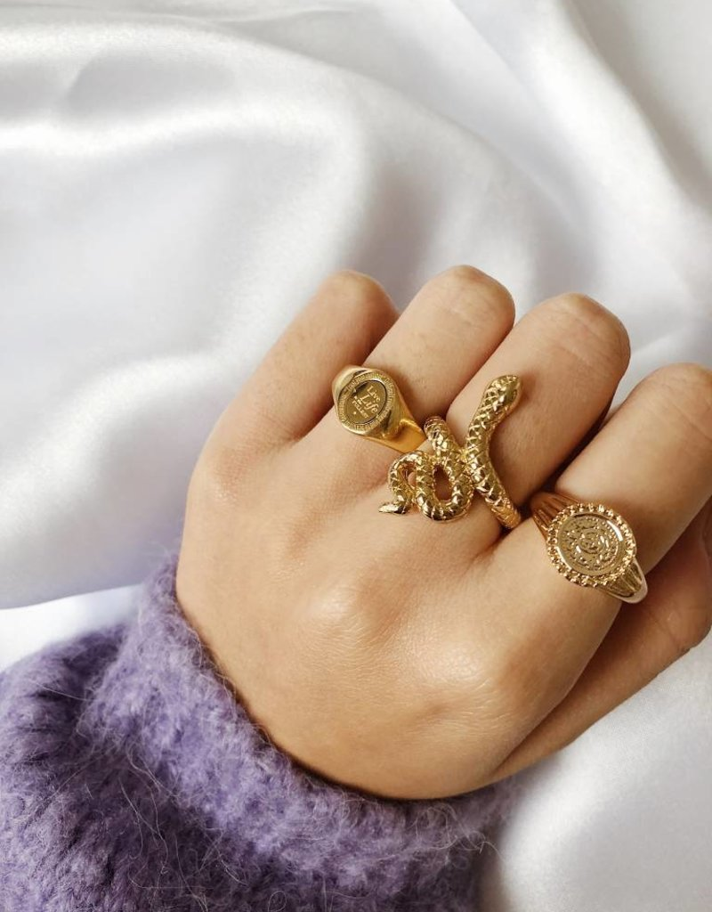 Gold Solid Snake Ring