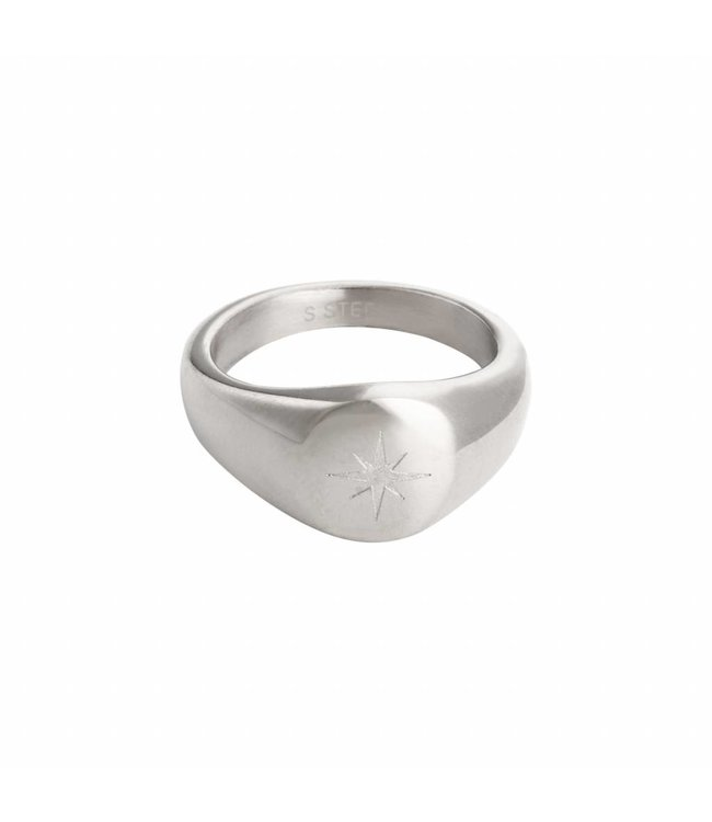 Silver Simple Star Signet Ring