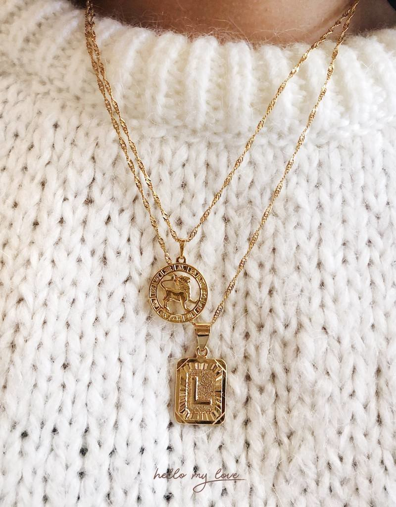 Silver  Initial Tag Necklace