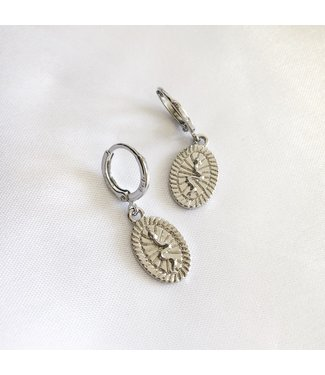 Silver Embossed Snake Earrings