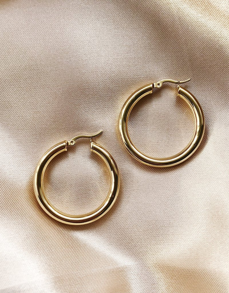 Gold Gemma Hoop Earrings