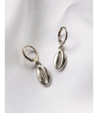 Silver Puka Shell Earrings