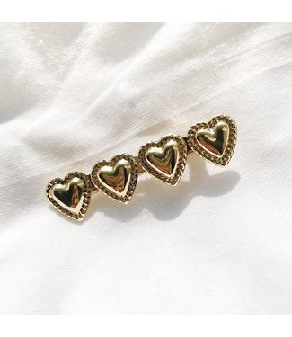 Gold Lovely Heart Hair Clip