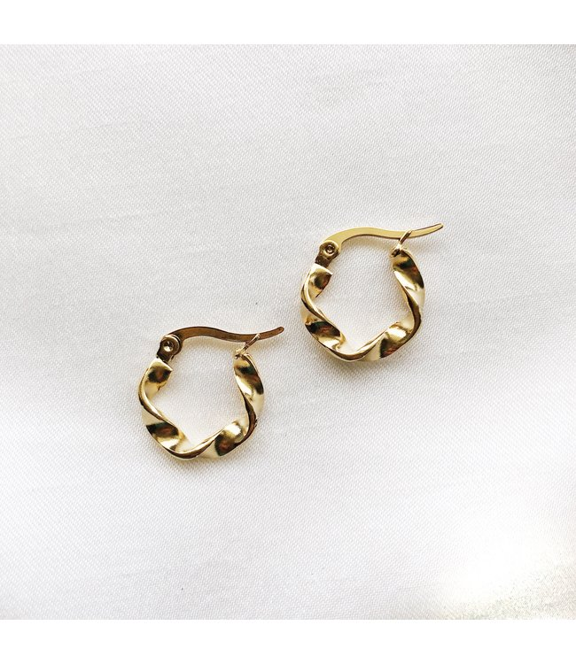 Gold Twist Hoop Earrings