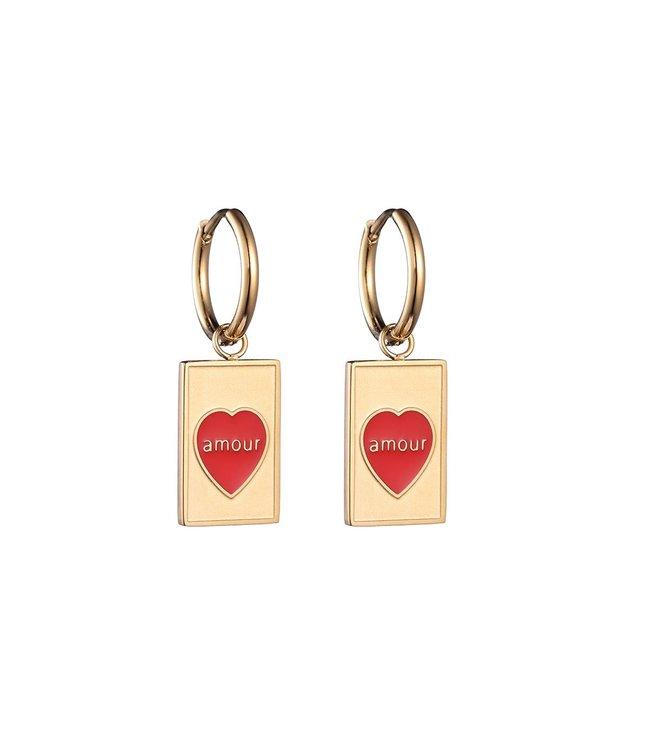 Gold Amour Heart Earrings