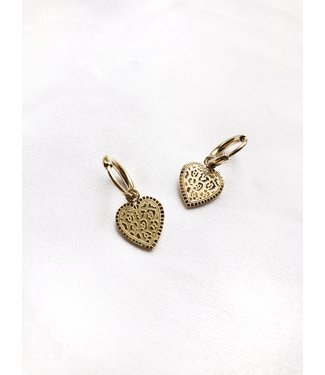 Gold Leo Heart Earrings