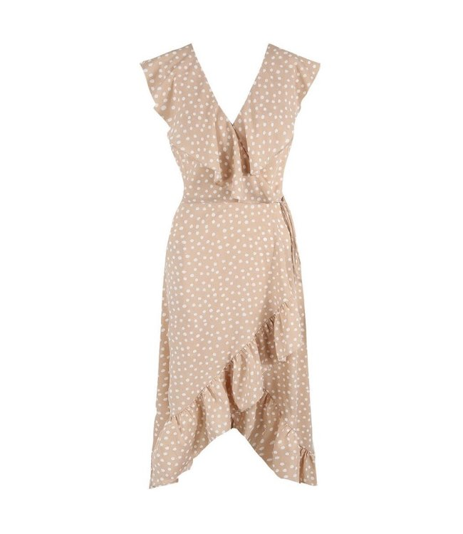 Lois Polkadot Midi Dress / Beige