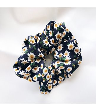 Cara Flower Scrunchie / Dark Blue