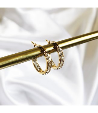 Gold Rhinestone Hoop Earrings