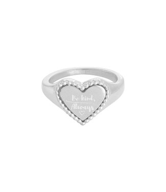 Silver The Kind Heart Signet Ring