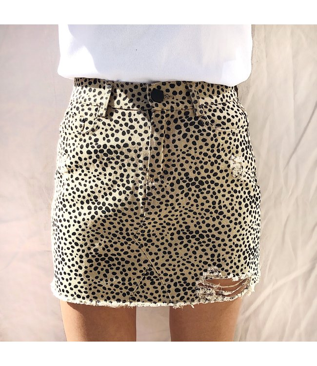 Alexis Printed Cheetah Skirt / Sand