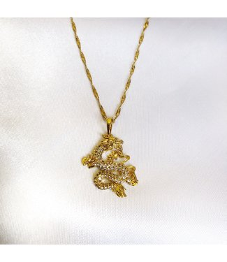 Gold Rhinestone Dragon Necklace