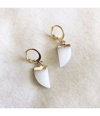 Gold Horn Earrings / White