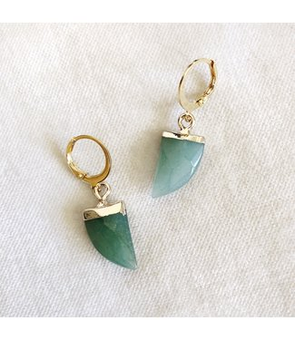 Gold Horn Earrings / Green