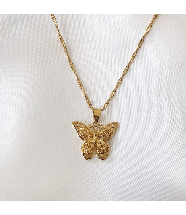 Gold Posie Butterfly Necklace