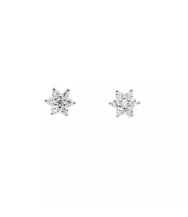 Silver Flower Rhinestone Studs
