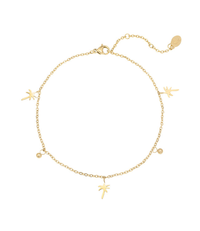 Gold Palm Tree Beads Anklet