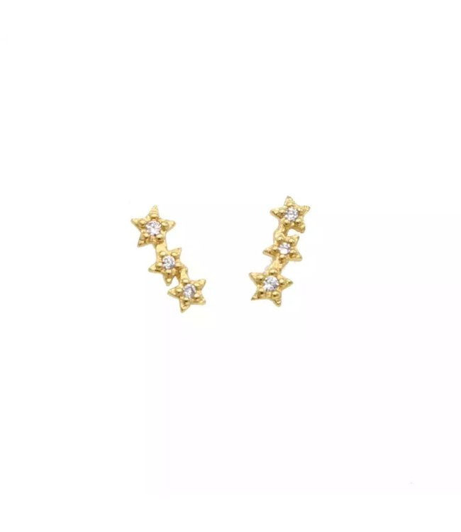Gold Triple Star Studs