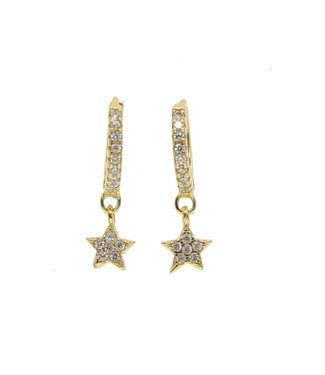 Gold Star Rhinestone Earrings