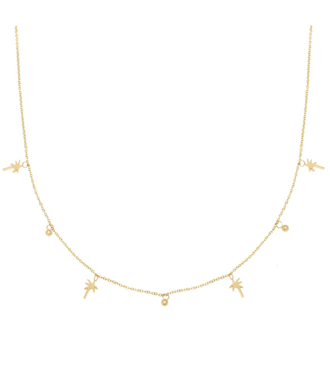 Gold Palm Tree Beads Necklace