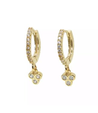 Gold Dots Rhinestone Earrings